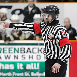 TRENTON, - Mar 24, 2016 -  Ontario Junior Hockey League game action between the Trenton Golden Hawks and the Wellington Dukes. Game 5 of the semi final playoff series, OHA Referee at the Duncan Memorial Gardens, ON. (Photo by Amy Deroche / OJHL Images)