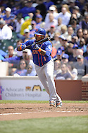 CHICAGO - MAY 17:  Jordany Valdespin #1 of the New York Mets attempts to bunt against the Chicago Cubs on May 17, 2013 at Wrigley Field in Chicago, Illinois.  The Mets defeated the Cubs 3-2.  (Photo by Ron Vesely/MLB Photos via Getty Images)  *** Local Caption *** Jordany Valdespin