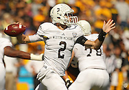 September 21 2013: Western Michigan Broncos quarterback Tyler Van Tubbergen (2) throws the ball during the first quarter of the NCAA football game between the Western Michigan Broncos and the Iowa Hawkeyes at Kinnick Stadium in Iowa City, Iowa on September 21, 2013. Iowa defeated Western Michigan 59-3.