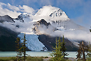 """Berg Glacier and Berg Lake are a wonderful backpacking destination in Mount Robson Provincial Park of British Columbia, Canada. Mount Robson (3954 meters or 12,972 feet) is the highest point in the Canadian Rockies, and is part of the Rainbow Range. Mount Robson is part of the Canadian Rocky Mountain Parks World Heritage Site declared by UNESCO in 1984. Published in """"Light Travel: Photography on the Go"""" book by Tom Dempsey 2009, 2010."""