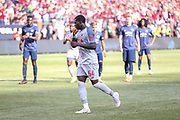 Sheryi Ojo celebrates his goal from the penalty spot 1-3 and scores a goal  during the Manchester United and Liverpool International Champions Cup match at the Michigan Stadium, Ann Arbor, United States on 28 July 2018.