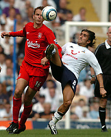 Picture: Henry Browne.Digitalsport<br /> Date: 14/08/2004.<br /> Tottenham Hotspur v Liverpool FA Barclays Premiership.<br /> <br /> Pedro Da Silva Mendes of Spurs tries to get the ball from Dietmar Hamann of Liverpool.