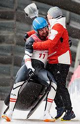 11.02.2018, Olympic Sliding Centre, Pyeongchang, KOR, PyeongChang 2018, Rodeln, Herren, 4. Lauf, im Bild v.l. David Gleirscher (AUT, 1. Platz und Goldmedaillengewinner), Wolfgang Kindl (AUT) // f.l. gold medalist and Olympic champion David Gleirscher of Austria Wolfgang Kindl of Austria during the Men's Luge Singles Run 4 competition at the Olympic Sliding Centre in Pyeongchang, South Korea on 2018/02/11. EXPA Pictures © 2018, PhotoCredit: EXPA/ Johann Groder