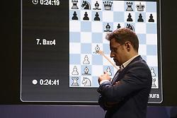 November 11, 2018 - Kolkata, West Bengal, India - Armenian chess Grandmaster Levon Aronian during the eightieth round matches of rapid chess at Tata Steel Chess India. (Credit Image: © Saikat Paul/Pacific Press via ZUMA Wire)