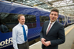 Pictured: Jamie Hepburn chats to ScotRail's Liam Casey<br /> Minister for Employability and Training Jamie Hepburn launched a &pound;10 million Flexible Workforce Development Fund which will partner industry with colleges to deliver in-work skills training during a visit to Waverlety Station in Edinburgh today. Mr Hepburn met to meet ScotRail staff who have undertaken in-work training to further their careers along with represenatatives from the Further Education sector.<br /> <br /> <br /> Ger Harley | EEm 7 September 2017