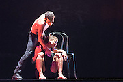 08/10/2014. Ballet Revolución is an explosive fusion of ballet, contemporary dance and hip hop from a company of supremely talented Cuban dancers and live musicians. Performing at The Peacock Theatre, London. Picture features  Heidy Batista Garcia and Jesus Elias Almenares.