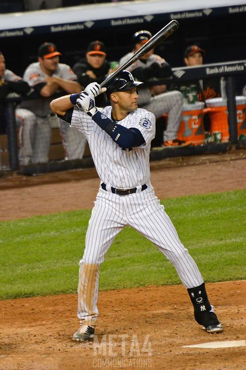 Derek Jeter stands ready for his final game winning hit at Yankee Stadium.
