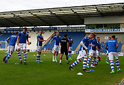Colchester United players warm up ahead of their Pre-Season Friendly match between Colchester United and West Ham United at the Weston Homes Community Stadium, Colchester, England on 18 July 2017. Photo by Phil Chaplin.