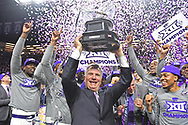 MANHATTAN, KS - MARCH 09:  Head coach Bruce Weber (C) of the Kansas State Wildcats and his players celebrate after wining the Big 12 Regular Season Championship on March 9, 2019 at Bramlage Coliseum in Manhattan, Kansas.  (Photo by Peter G. Aiken/Getty Images) *** Local Caption *** Bruce Weber