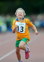 21 Aug 2016: Olivia Moroney, from Clare, makes her way to the finish line in the U8 Girls 80m final.  2016 Community Games National Festival 2016.  Athlone Institute of Technology, Athlone, Co. Westmeath. Picture: Caroline Quinn