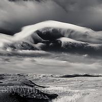big skies over the wild montana prairie, black and white