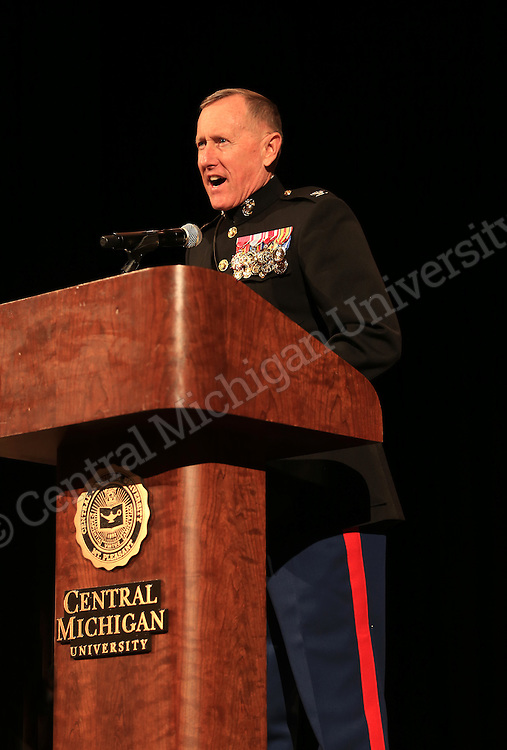 More than 50 people attended a Veterans Day ceremony in Plachta Auditorium sponsored by CMU's Veterans' Resource Center. Keynote speaker was Colonel M. E. Nunnally USMCR (ret.).   Central Michigan University photo by Steve Jessmore