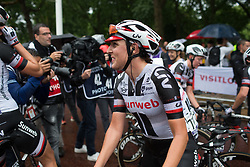 Lucinda Brand (NED) of Team Sunweb smiles after finishing the Prudential Ride London Classique - a 66 km road race, starting and finishing in London on July 29, 2017, in London, United Kingdom. (Photo by Balint Hamvas/Velofocus.com)