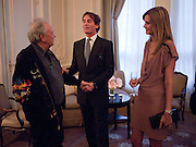 DAVID BAILEY; TIM JEFFERIES; MALIN JEFFERIES, Dinner to mark 50 years with Vogue for David Bailey, hosted by Alexandra Shulman. Claridge's. London. 11 May 2010