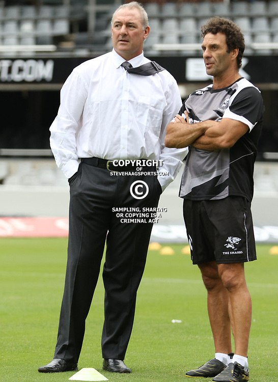DURBAN, SOUTH AFRICA - FEBRUARY 14: (L) Gary Gold (Sharks Director of Rugby) (R) Paul Anthony (Assistant Coach) during the Super Rugby match between Cell C Sharks and Toyota Cheetahs at Growthpoint Kings Park on February 14, 2015 in Durban, South Africa. (Photo by Steve Haag/Gallo Images)