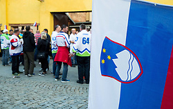 Slovenian flag after meeting of Slovenian Ice Hockey National Team with their supporters at day off during 2015 IIHF World Championship, on May 9, 2015 in Restaurant Zadni Vratka, Stodolni Street, Ostrava, Czech Republic. Photo by Vid Ponikvar / Sportida