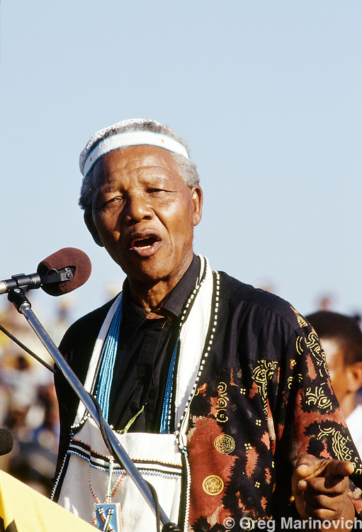 South Africa 1994. Nelson Mandela speaks during part of his campaign tour, 1994
