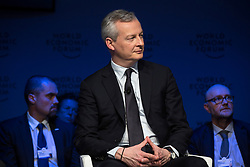 """HANDOUT - Bruno Le Maire, Minister of Economy and Finance of France speaking during the Session """"Europe between Vision and Dilemma"""" at the Annual Meeting 2018 of the World Economic Forum in Davos, January 25, 2018. Photo by Christian Clavadetscher/World Economic Forum via ABACAPRESS.COM"""
