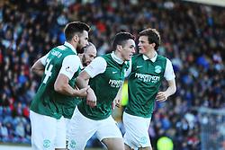 Hibernian's John McGinn cele scoring their first goal. <br /> Raith Rovers 1 v 2 Hibernian, Scottish Championship game played 24/10/2015 at Starks Park.