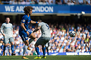 Chelsea (30) David Luiz, Everton (9) Sandro Ramírez during the Premier League match between Chelsea and Everton at Stamford Bridge, London, England on 27 August 2017. Photo by Sebastian Frej.