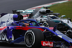 February 26, 2018 - Barcelona, Catalonia, Spain - February 26, 2018 - Circuit de Barcelona-Catalunya, Montmelo, Spain - Formula One preseason 2018; Brendon HARTLEY from New Zeland of Team Scuderia Toro Rosso Honda, Toro Rosso STR12, Honda RA618H engine and Valtteri BOTTAS from Finland of Mercedes-AMG-Petronas Formula One  Team, Mercedes F1 W09 Hybrid, EQ Power+ (Credit Image: © Eric Alonso via ZUMA Wire)