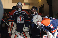 KELOWNA, CANADA - DECEMBER 17: Connor Ingram #39 of Kamloops Blazers stands in the tunnel with teammates prior to warm up against the Kelowna Rockets on December 27, 2014 at Prospera Place in Kelowna, British Columbia, Canada.  (Photo by Marissa Baecker/Shoot the Breeze)  *** Local Caption *** Connor Ingram;