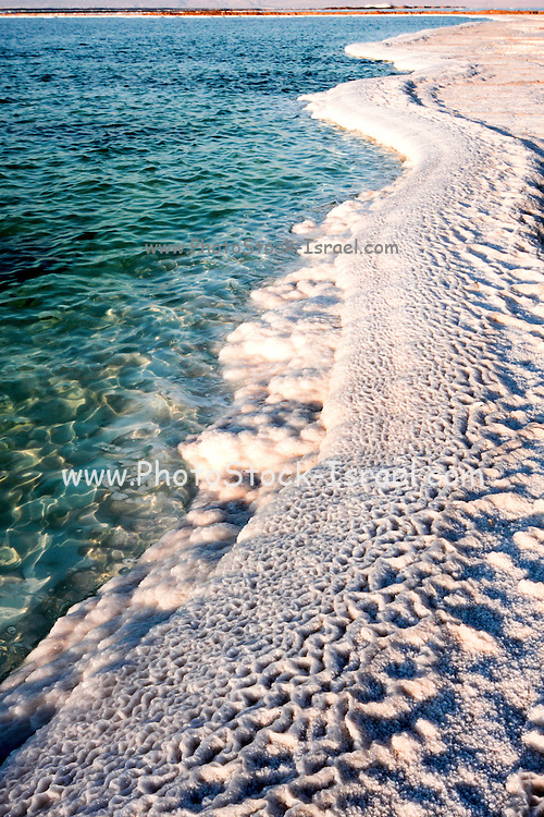 Israel, Dead Sea salt formation caused by the evaporation of the water on the shore .