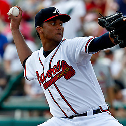 March 19, 2012; Lake Buena Vista, FL, USA; Atlanta Braves starting pitcher Randall Delgado (40) throws against the St. Louis Cardinals during the top of the fifth inning of a spring training game at Disney Wide World of Sports complex. Mandatory Credit: Derick E. Hingle-US PRESSWIRE