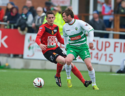 NEWTOWN, WALES - Saturday, May 2, 2015: The New Saints' Simon Spender in action against Newtown during the FAW Welsh Cup final match at Latham Park. (Pic by Ian Cook/Propaganda)
