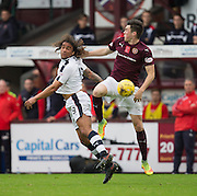Dundee&rsquo;s Yordi Teijsse and Hearts&rsquo; John Souttar - Hearts v Dundee, Ladbrokes Scottish Premiership at Tynecastle, Edinburgh. Photo: David Young<br /> <br />  - &copy; David Young - www.davidyoungphoto.co.uk - email: davidyoungphoto@gmail.com