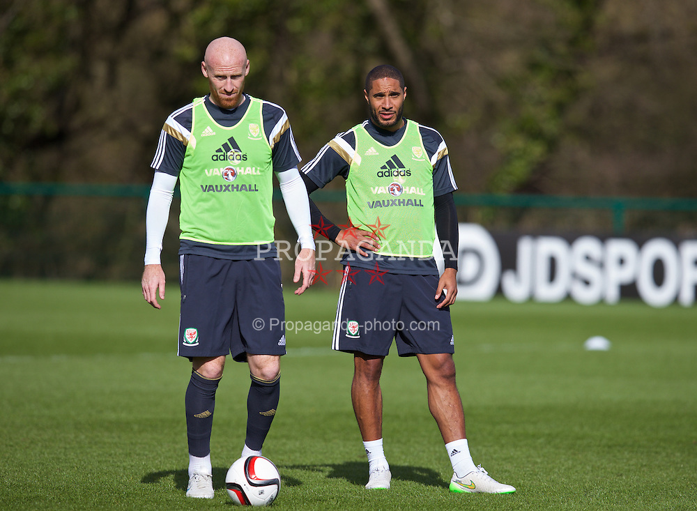 CARDIFF, WALES - Tuesday, March 24, 2015: Wales' captain Ashley Williams [R] and James Collins during a training session at the Vale of Glamorgan ahead of the UEFA Euro 2016 qualifying Group B match against Israel. (Pic by David Rawcliffe/Propaganda)