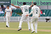 Muhammad Abbas appeals for LBW during the Specsavers County Champ Div 2 match between Leicestershire County Cricket Club and Durham County Cricket Club at the Fischer County Ground, Grace Road, Leicester, United Kingdom on 9 July 2019.