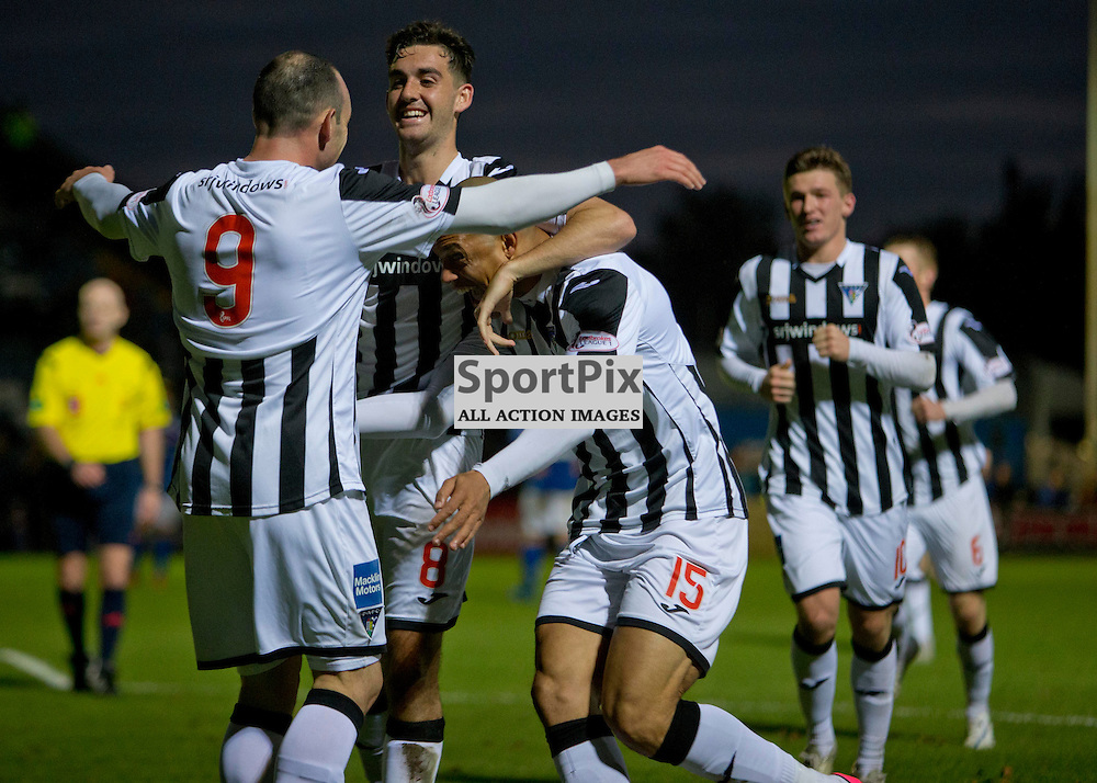 Stranraer v Dunfermline Athletic SPFL League One Season 2015/16 Stair Park 17 October 2015<br /> Mickael Antoine-Curier celebrates making it 3-0<br /> CRAIG BROWN | sportPix.org.uk