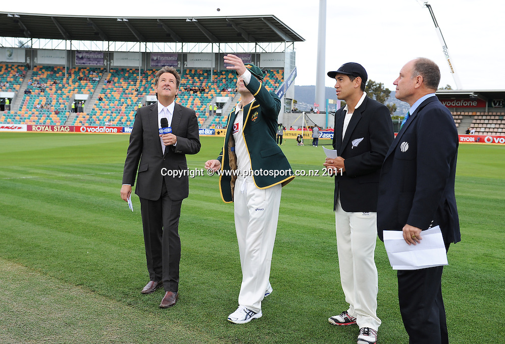 Michael Clarke and Ross Taylor during the coin toss on Day 1 of the second cricket test between Australia and New Zealand Black Caps at Bellerive Oval in Hobart, Friday 9 December 2011. Photo: Andrew Cornaga/Photosport.co.nz