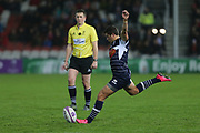 Agen scrum half Hugo Verdu (9) coverts the ball 21-9 first half during the European Rugby Challenge Cup match between Gloucester Rugby and SU Agen at the Kingsholm Stadium, Gloucester, United Kingdom on 19 October 2017. Photo by Gary Learmonth.