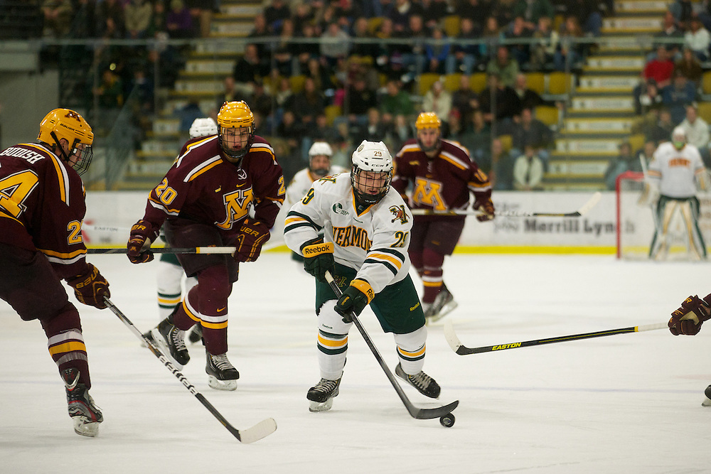 Catamounts forward Robert Polesello (29) takes a shot during the men's hockey game between the Minnesota Golden Gophers and the Vermont Catamounts at Gutterson Field House on Friday night November 24, 2012 in Burlington, Vermont.