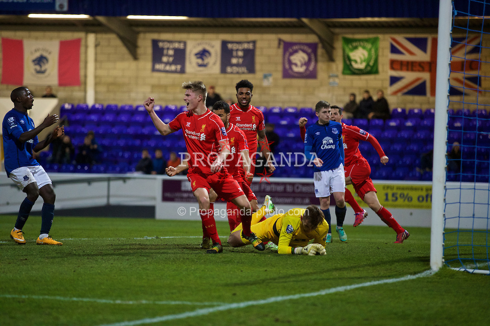 CHESTER, WALES - Monday, March 9, 2015: Liverpool's Daniel Cleary celebrates the first equalising goal against Everton during the Under 21 FA Premier League match at Deva Stadium. (Pic by David Rawcliffe/Propaganda)