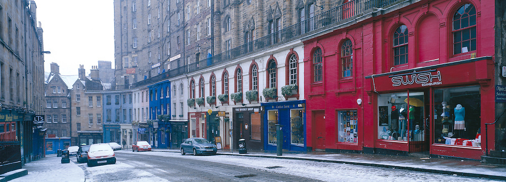 Victoria Street in the old town of Edinburgh leading to the Grassmarket