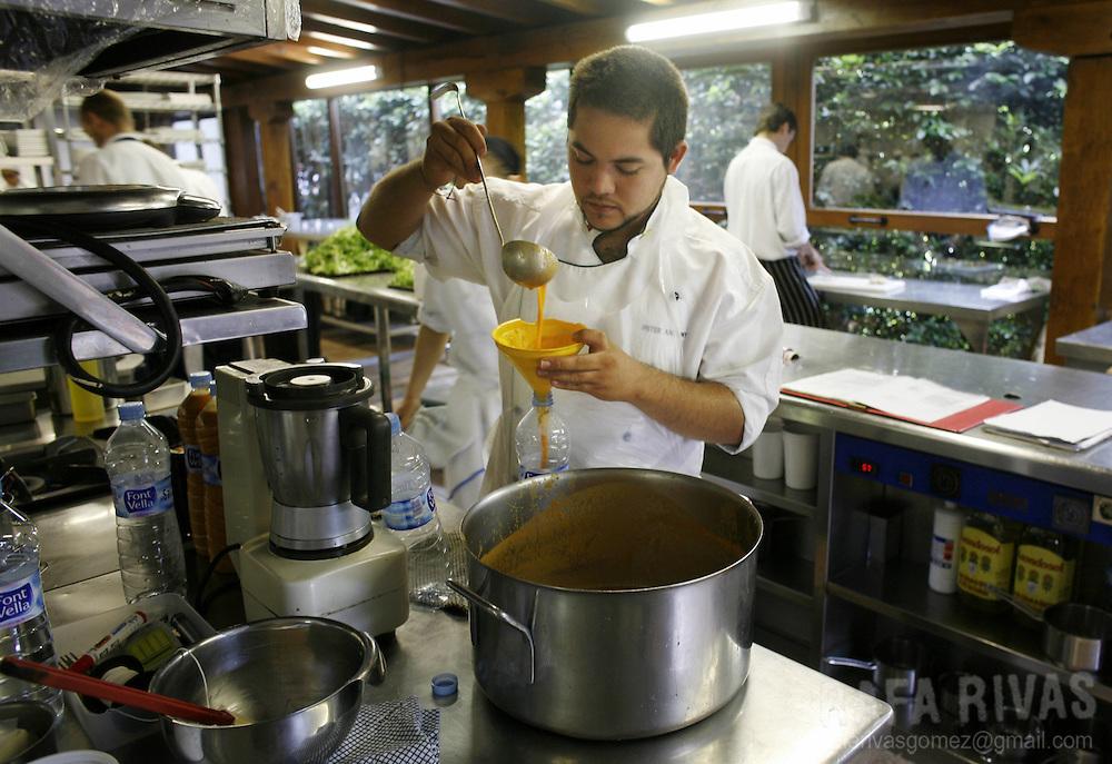Some chefs work at Berasategui restaurant, on July 03, 2008, in the northern Spanish Basque village of Lasarte.