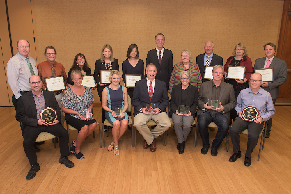 Finalists and winners of the 2016 Faculty Awards Recognition Ceremony pose for a portrait following the ceremony in Baker University Center on Tuesday, September 6, 2016.