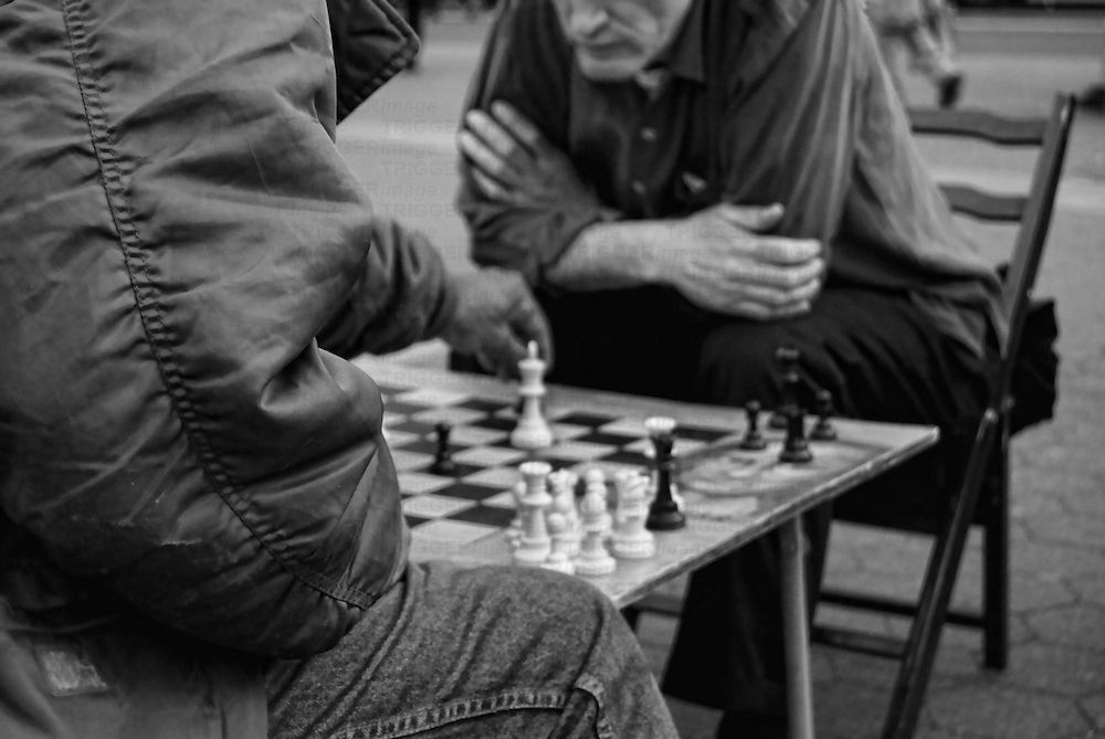 Two men playing chess on New York's Union Square.