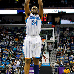 December 21, 2011; New Orleans, LA, USA; New Orleans Hornets power forward Carl Landry (24) against the Memphis Grizzlies during a preseason game at the New Orleans Arena.   Mandatory Credit: Derick E. Hingle-US PRESSWIRE