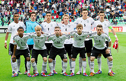 Team of Germany (standing row L-R) Marian Sarr of Germany, Oliver Schnitzler of Germany, Said Benkarit of Germany, Nico Brandenburger of Germany, Niklas Suele of Germany and Leon Goretzka of Germany; first row (L-R) Jeremy Dudziak of Germany, Julian Brandt of Germany, Marc Stendera of Germany, Maximilian Meyer of Germany and Pascal Itter of Germany during the UEFA European Under-17 Championship Semifinal match between Germany and Poland on May 13, 2012 in SRC Stozice, Ljubljana, Slovenia. Germany defeated Poland 1-0 and qualified to finals. (Photo by Vid Ponikvar / Sportida.com)