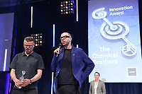 The Chemical Brothers accept their award  on stage during the O2 Silver Clef Awards 2019, Grosvenor House, London, UK, Friday 05 July 2019<br /> Photo JM Enternational