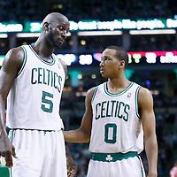 08 March 2013: Boston Celtics center Kevin Garnett (5) talks to Boston Celtics point guard Avery Bradley (0) during the Boston Celtics 107-102 OT victory over the Atlanta Hawks at the TD Garden, Boston, Massachusetts, USA.