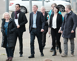 New Scottish Labour leader Richard Leonard, Sunday 19th November 2017<br /> <br /> New Scottish Labour leader Richard Leonard meets MPs, MSPs and volunteers on his first day in charge.<br /> <br /> Pictured: Anas Sarwar, Richard Leonard and Monica Lennon<br /> <br /> (c) Alex Todd | Edinburgh Elite media