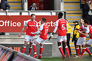 Rotherham United player Michael Smith (24) celebrates scoring goal to go 1-1 during the EFL Sky Bet League 1 match between Rotherham United and Doncaster Rovers at the AESSEAL New York Stadium, Rotherham, England on 24 February 2018. Picture by Ian Lyall.