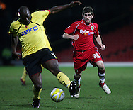 London - Tuesday, March 4th, 2008: Ched Evans of Norwich City closes down Watford's Daniel Shittu during the Coca Cola Champrionship match at Vicarage Road, London. (Pic by Chris Ratcliffe/Focus Images)
