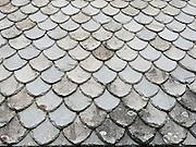 Slate roof pattern. The Hardanger Folk Museum was founded in 1911 in Utne, Norway.