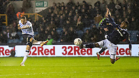 Football - 2018 / 2019 Emirates FA Cup - Fourth Round: Millwall vs. Everton<br /> <br /> Richarlison (Everton FC ) drives home his shot to give Everton the lead at The Den.<br /> <br /> COLORSPORT/DANIEL BEARHAM